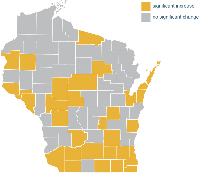Map showing counties with significant change.