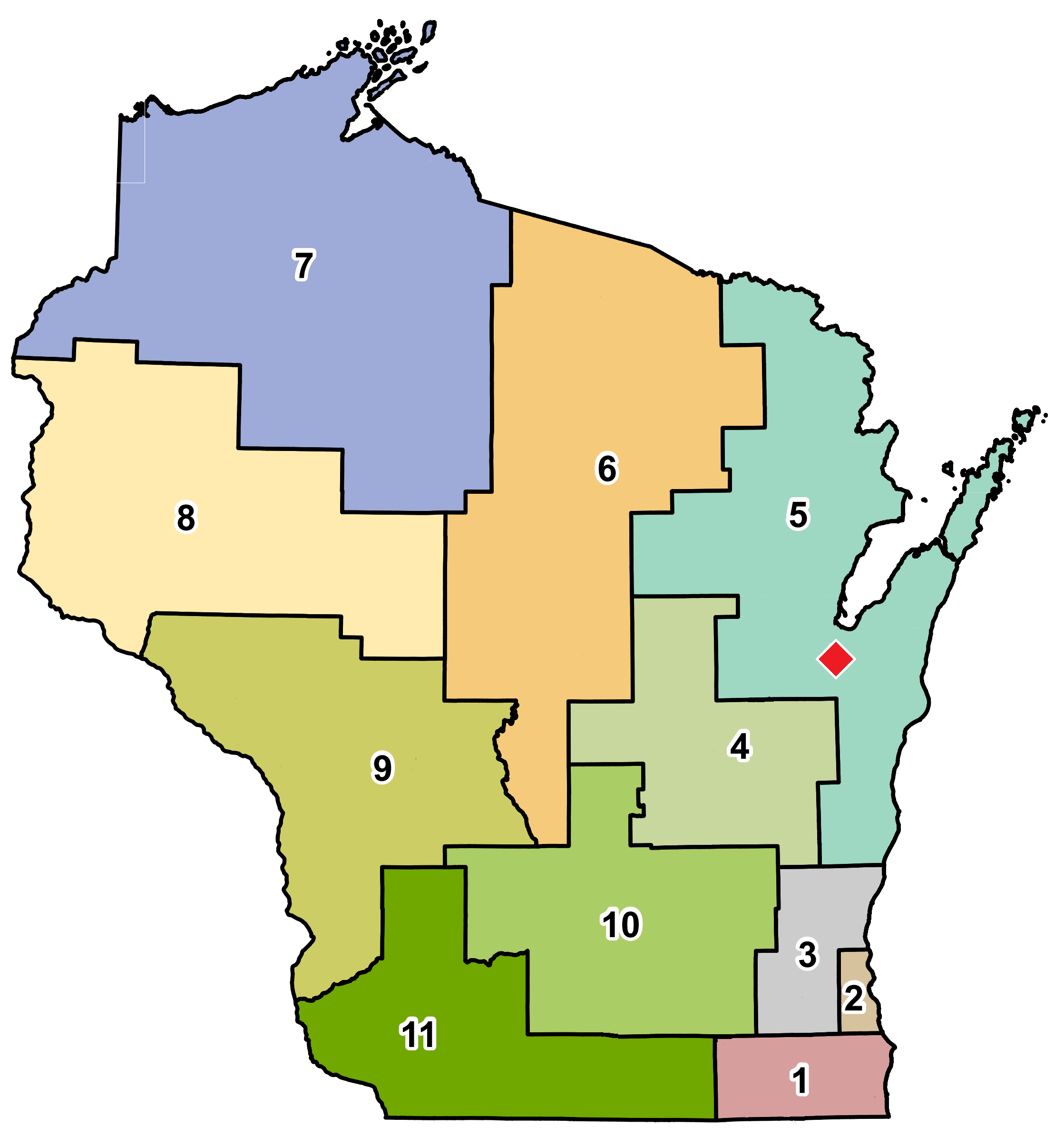 map showing location of De Pere